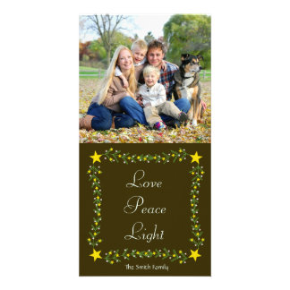 Love Peace Light Stars & Greenery Christmas Photo Card