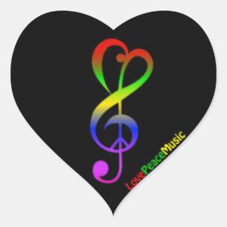 Love Peace & Music Heart Sticker