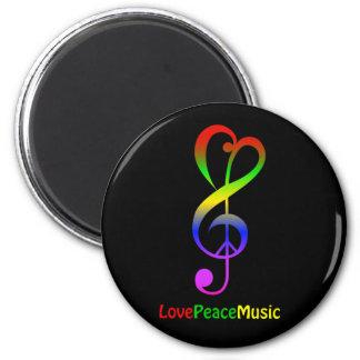 Love peace music hippie treble clef 6 cm round magnet