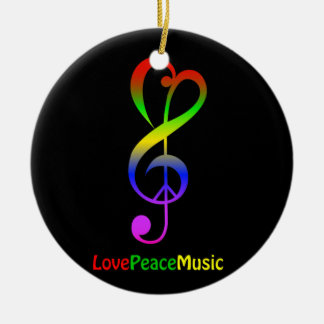 Love peace music hippie treble clef black round ceramic decoration
