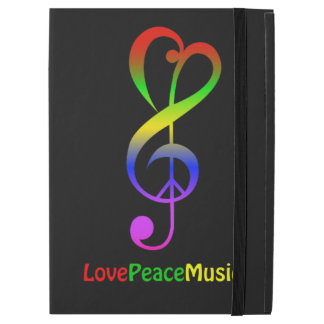 "Love peace music hippie treble clef iPad pro 12.9"" case"