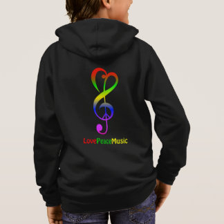 Love peace music hippie treble clef kid's hoodie