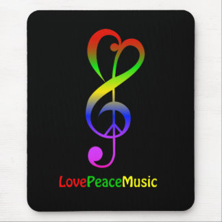 Love peace music hippie treble clef mouse mat