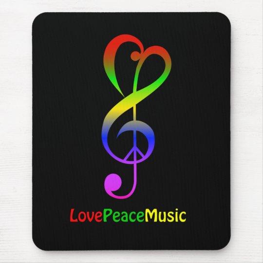 Love peace music hippie treble clef mouse mat