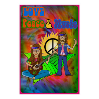 Love Peace Music Poster