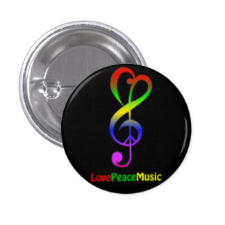 Love Peace Music Round Button