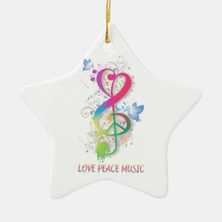 Love Peace Music Splatter swirls flowers birds Ceramic Star Decoration