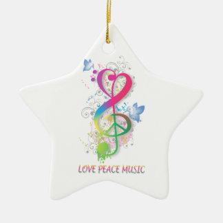 Love Peace Music Splatter swirls flowers birds Christmas Ornament
