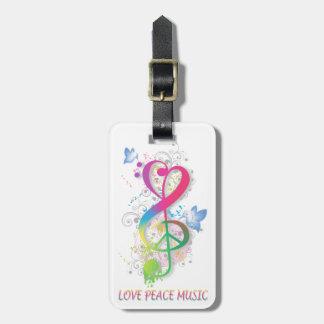 Love Peace Music Splatter swirls flowers birds Luggage Tag