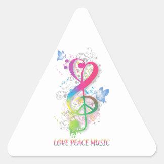 Love Peace Music Splatter swirls flowers birds Triangle Sticker
