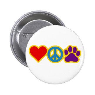 Love Peace Paw 6 Cm Round Badge