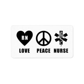 Love Peace RN Nurse Label