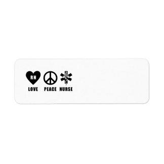 Love Peace RN Nurse Return Address Label