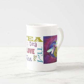 Love Peace Ying Yang Dragonfly Tea Cup Bone China Mug