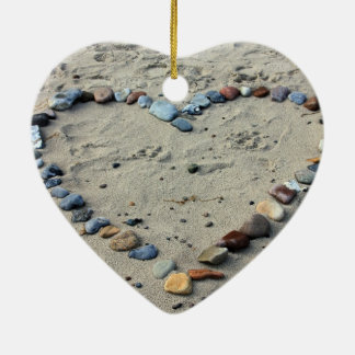Love pebbles Double-Sided heart ceramic christmas ornament