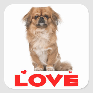 Love Pekingese Puppy Dog Red Heart Sticker / Seal