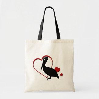 Love Pelican Hearts Tote Bag