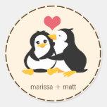 Love Penguins Custom Sticker Round Sticker