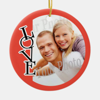 Love Photo Frame Holiday Decoration Double-Sided Ceramic Round Christmas Ornament