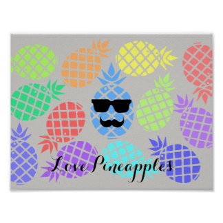 """""""Love Pineapples"""" Colorful Poster"""