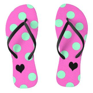 Love Pink And Mint Polka Dot Flip Flops