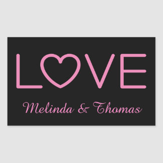 Love Pink & Black Personalized Name Sticker / Seal