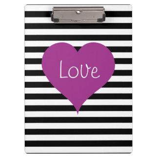 LOVE Pink Heart Black & White Stripes Pattern Name Clipboard
