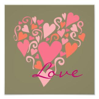 Love Pink Hearts Arrangement on Green Background Photograph