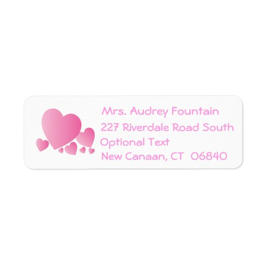 Love Pink Hearts Return Address Labels