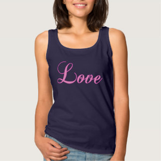 Love Pink on Navy Blue Tank Romance Valentines Day