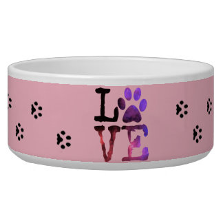 Love, PInk Paw Prints Dog or Cat Food Bowl