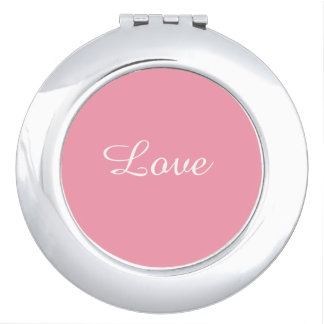 Love Pink Round Compact Mirror