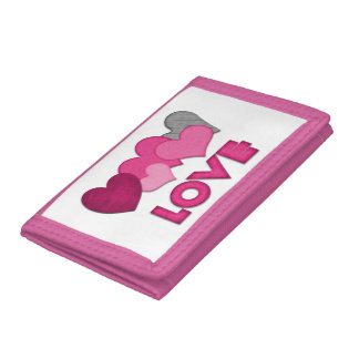 """Love"" Pink TriFold Nylon Wallet"