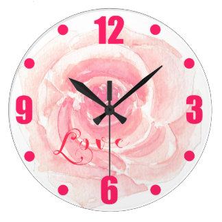 Love Pink Watercolor Rose Romance Large Clock