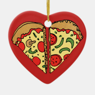 Love Pizza Add Names Christmas Ornament