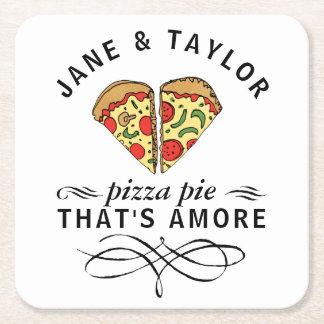 Love Pizza Add Names Square Paper Coaster