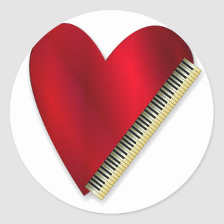 Love Playing Piano Classic Round Sticker