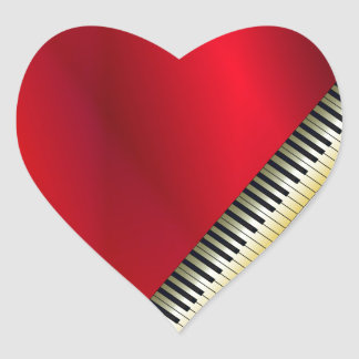 Love Playing Piano Heart Sticker