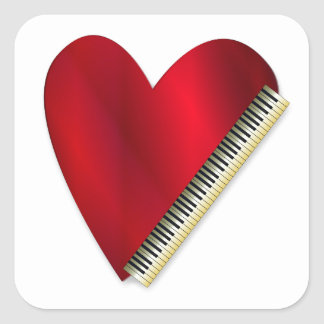 Love Playing Piano Square Sticker