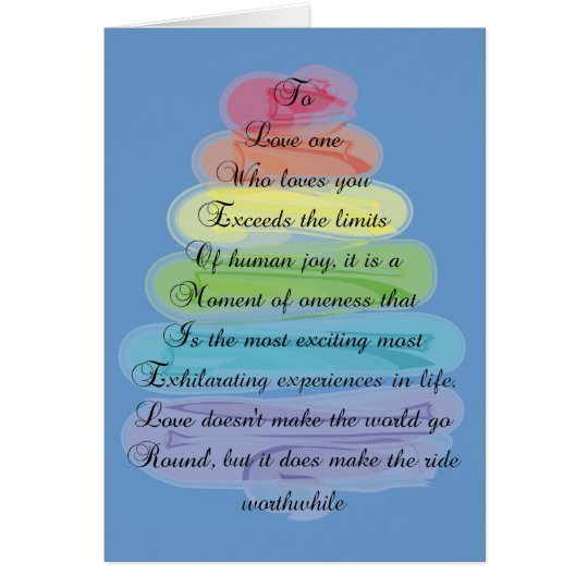 """Love"" Poem Gifts Artsy Tree Design Card"