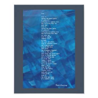 """Love"" Poem With Deep Blue Digital Abstract Poster"