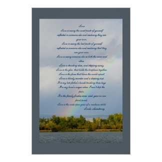 Love Poem With Rainbow Photo Poster