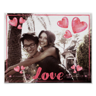 Love Poster With Hearts Add Your Photo Matte 10x8