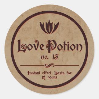 Love Potion   Vintage Halloween Label Round Sticker