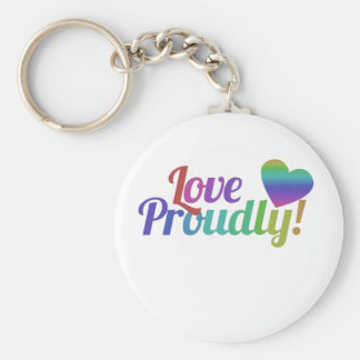 Love Proudly Basic Round Button Key Ring