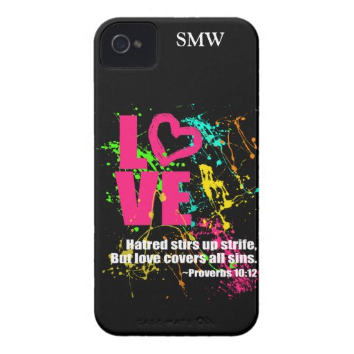 Love Proverbs Bible Verse Neon Paint Splatter iPhone 4 Case