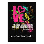 Love Proverbs Bible Verse Neon Paint Splatter Custom Invites