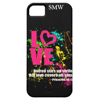 Love Proverbs Bible Verse Neon Paint Splatter iPhone 5 Covers