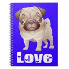 Love Pug Puppy Dog Blue Notebook / Journal