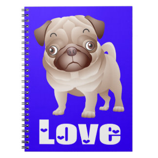 Love Pug Puppy Dog Blue Notebook / Journal